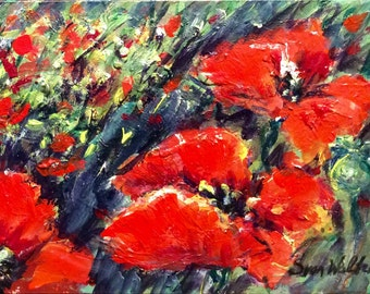 Sale Poppies flowers original floral painting 5 x 7
