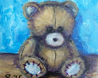 Teddy Bear Painting Kids art original art 6 x 6""