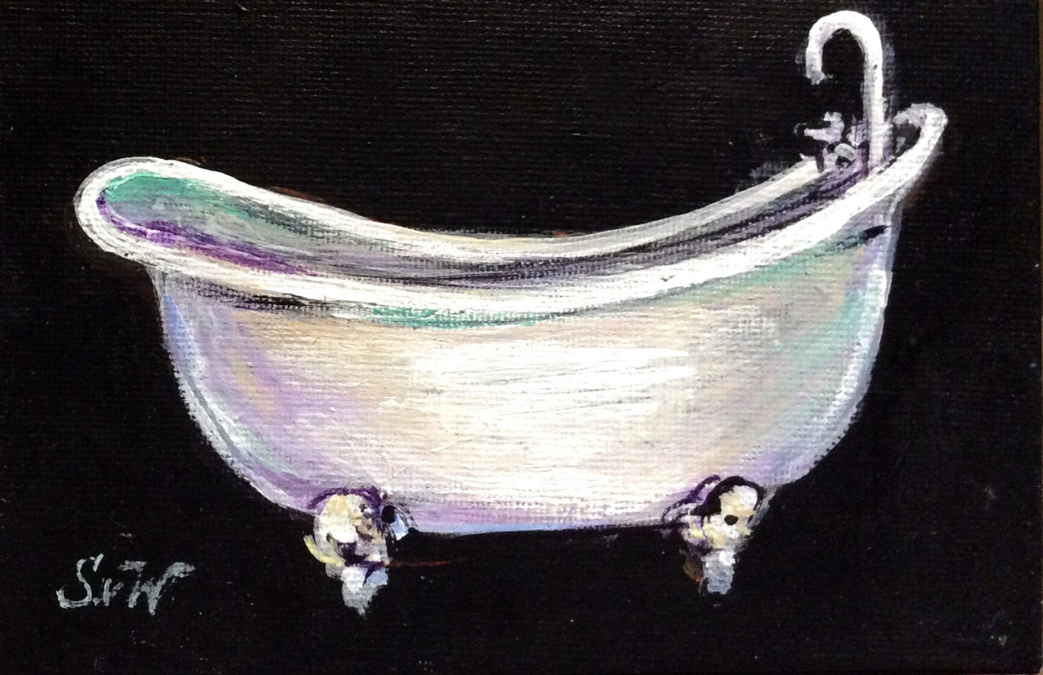 Clawfoot bathtub painting white bathtub art by sersonart on etsy - Painted clawfoot tub exterior pict ...