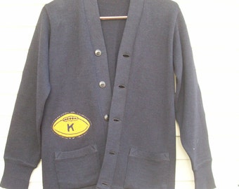 Vintage Wool Letterman Style Football Sweater College Cardigan Varsity Sweater Womens Size XS / Small