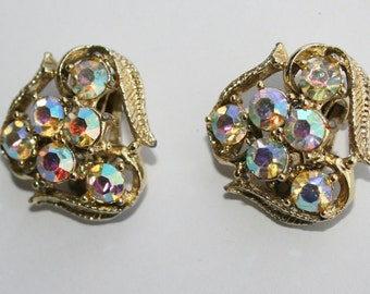 Vintage Aurora Borealis Rhinestone Earrings Gold Tone 1950s