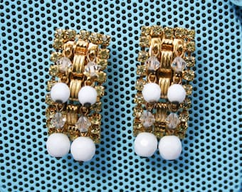 Vintage Hobe Rhinestone Cha Cha Bead Earrings
