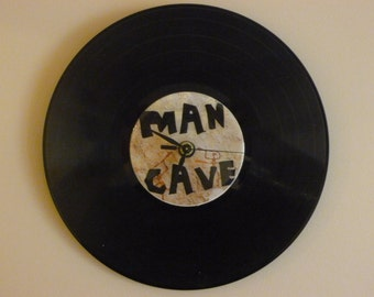 Mancave  Recycled Vinyl Record / CD Clock Wall Art