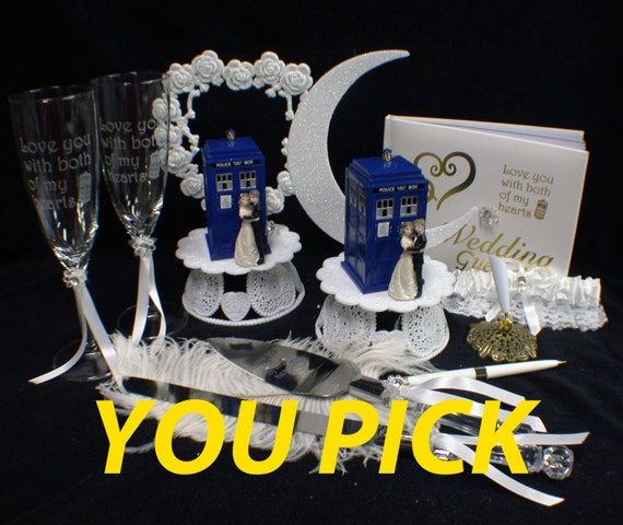 You  PICK Bride & Groom Wedding Cake Topper w/ DR. Who Doctor TARDIS phone booth funny top