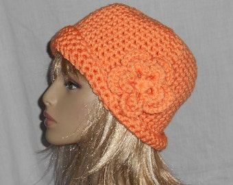 Bright Orange Crochet Hat with Removable Flower - FREE SHIPPING to US and Canada