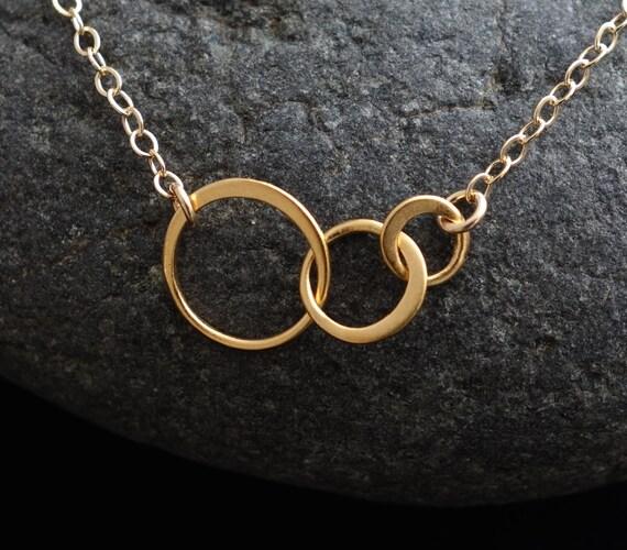 Tiny Three Linked Circles in Gold, gold circles, interlocking rings, three circles, wedding,bridesmaid gift, linked circles