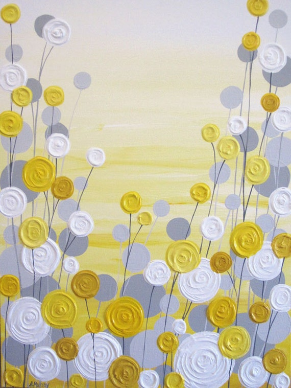 Yellow And Grey Art Textured Acrylic Painting On Canvas