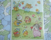 Vintage Hallmark Sticker Sheet. Bunny, Hedgehog, Mouse, Chick, Butterfly, Eggs and Flower. 12 Individual Stickers in the Sheet.