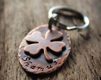 Pet ID Tag, copper shamrock