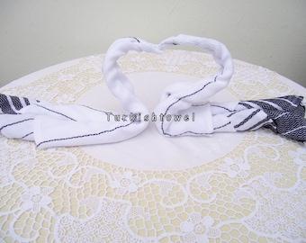 Turkishtowel-Set of 2-Hand woven peshkirs-hand,tea,dish towels-White stripes on black
