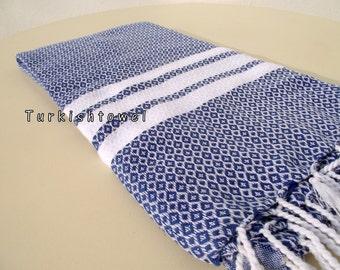 Turkishtowel-2015 Collection-Hand woven,medium weight,very soft,BAKLAVA pattern,Bath,Beach,Travel,Wedding Towel-Navy,white stripes