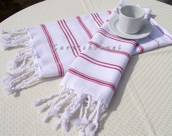 Turkishtowel-NEW Set of 2-Hand woven Peshkirs-Hand towels,Tea towels,Dish towels,Neck Warmers,Bath Towels-Red stripes on White