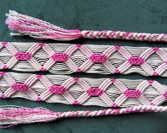 Vintage Hand Made Pink & White Cotton Belt.