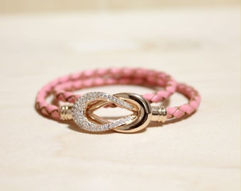 Rose Gold Plated Eternity Motive leather Bracelet(Pink Leather)
