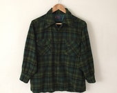 Pendleton Green Plaid Wool Shirt L