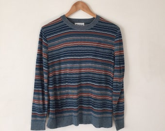 1970s Striped Blue and Rust Sweater