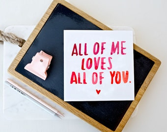 Card - All Of Me Loves All Of You - John Legend Lyrics