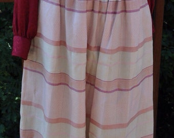 Pink Plaid A-Line Skirt, Size 10 Skirt, Evan-Picone from the 1980s, teacher or office winter or spring skirt