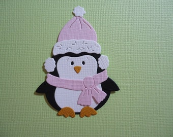 Winter Penguin with Pink Beanie and Scarf Die Cut Embellishment Scrapbooking Card Topper Snow