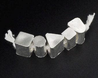 5 of Karen Hill Tribe Silver Multi-shape Beads 10 mm. :ka3965