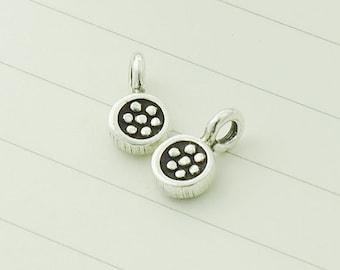 8 of Karen Hill Tribe Silver Daisy  Imprint Charms 5 mm. :ka3442