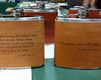 Frank Sinatra Flask with Hand Dyed Engraved Leather Wrap