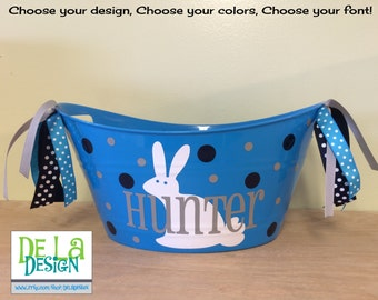 Personalized oval tub - Easter basket, gift basket, name, initial or monogram, polka dots, bunny or other design, baby gift basket