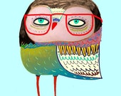 Owl with red glasses. Kids wall art. Limited edition art print for kids.