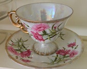 Vintage Cup and Saucer January carnation Birthday