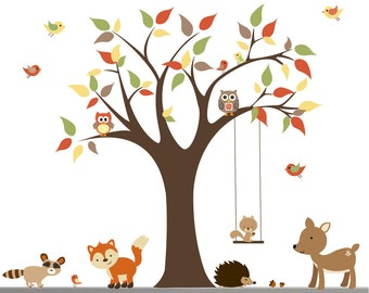 Children Wall Decals For Nursery-Tree with Forest Animals
