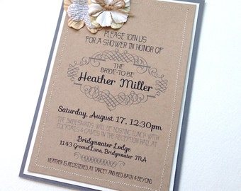 Paper Flowers Rustic Bridal Shower Invitation