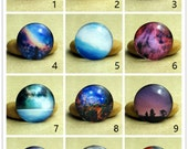 10 pcs Nebula & Galaxy Picture Cabs Collage 0435 - Round 8mm 10mm 12mm 14mm 16mm 18mm 20mm 25mm 30mm Photo Glass Cabochon Flat Back Beads