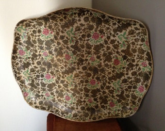 Vintage Paper Mâché Serving Tray / 1950s Floral Tray / Made in Japan Serving Tray