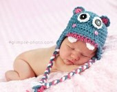 Hand Crocheted Happy Hippo Earflap Hat / Costume / Photo Prop / Dress Up / Whimsical Warmth