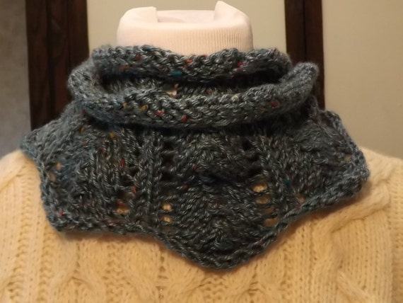 Cowl Knitting Pattern For Beginners : Items similar to knit cowl infinity scarf and headband