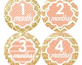 Baby Monthly Stickers FREE Baby Month Milestone Sticker Baby Month Stickers Baby Girl Bodysuit Stickers Chevron Glitter Gold Peach 137G