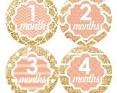 Baby Month Stickers, Monthly Baby Stickers, Baby Milestones, Baby Girl First Year Stickers, Monthly Sticker, Chevron Glitter Gold Peach 137G