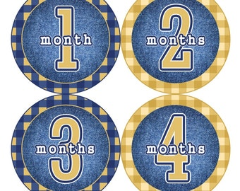 Baby Month Milestone Stickers FREE Baby Month Sticker Baby Monthly Stickers Baby Boy Bodysuit Stickers Plaid Yellow Farm Blue Jeans 078B