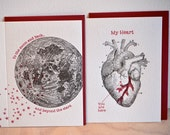 To the moon and back PLUS Anatomical heart 2x letterpress cards, Valentine's Day, card for men, romantic Just because, vintage illustrations