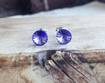 Get 15% OFF - 6mm Swarovski Crystal, Tanzanite Blue Purple Crystal Silver Surgical Steel Post Earrings - 4th of July SALE 2017