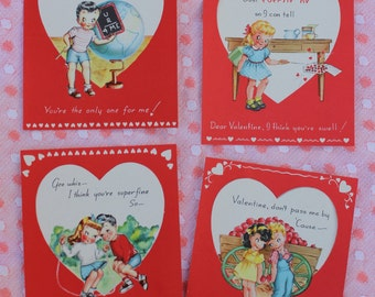 Vintage Unused Valentines Day Card,  Set of Four Different Designs