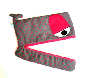 Grey Pink Polkadot Whale laptop sleeve, lightly padded, 15 inch, 14 inch, 13 inch - ready to ship