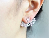 Floral Bouquet  Earrings-White and Pink / Front Back Earrings, ear jackets