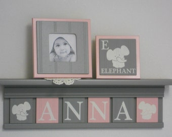 Elephant Nursery Decor | Personalized Name Shelves | Custom Grey Shelf with Light Pink Gray Wooden Letter Plaques