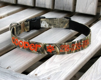 Personalized Camo Dog Collar, Max 5 or Realtree Xtra Camouflage Adjustable Dog Collar -  Embroidered
