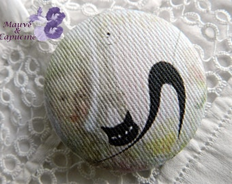 Fabric button,  amazing cat,  0.78 in / 20 mm
