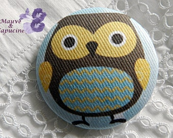 Fabric buttons, owl, 0.78 in / 20 mm