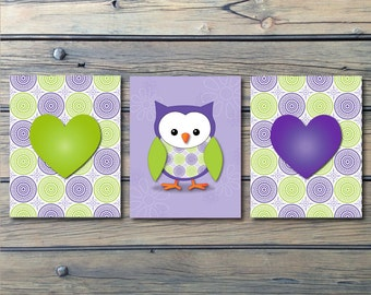 Purple Green Medallion Owl Nursery Art- Baby Girl Nursery Prints - Set of 3 or 4 -Choose Your Size