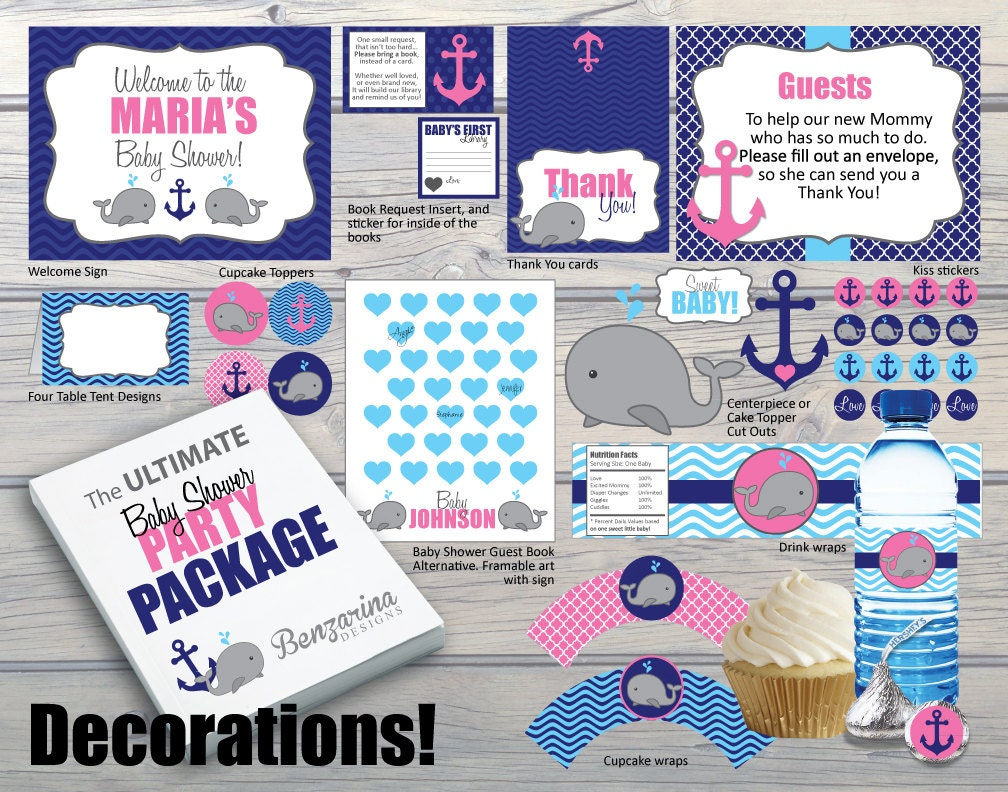 Customized baby shower party package decorations activities for Baby shower decoration packages