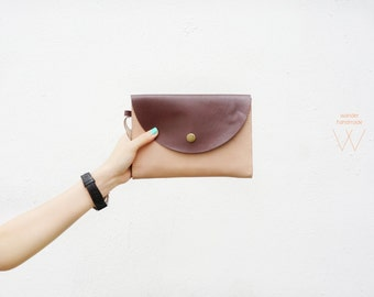 Light brown Leather Clutch